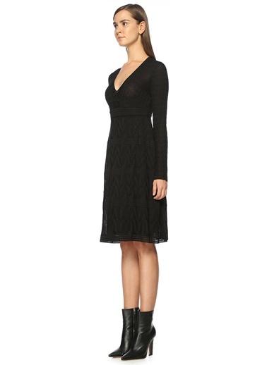 V Yaka Astarlı Uzun Kol Elbise-M Missoni